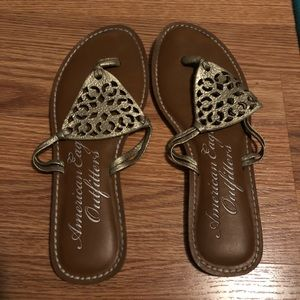 AEO gold sandals. Size 8.